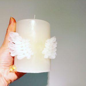 天使の羽,キャンドル,つまみ細工