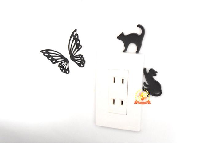 キャンドル,ステッカー,蝶,猫